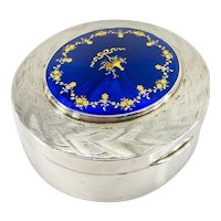 Sterling Silver Guilloche Enameled English Vanity Dresser Box