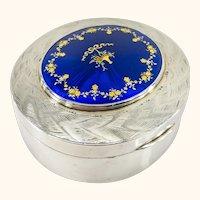 Sterling Silver Guilloche Enameled English Vanity Dresser Box