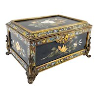 Antique Italian Pietra Dura Bronze Mounted Jewelry Casket