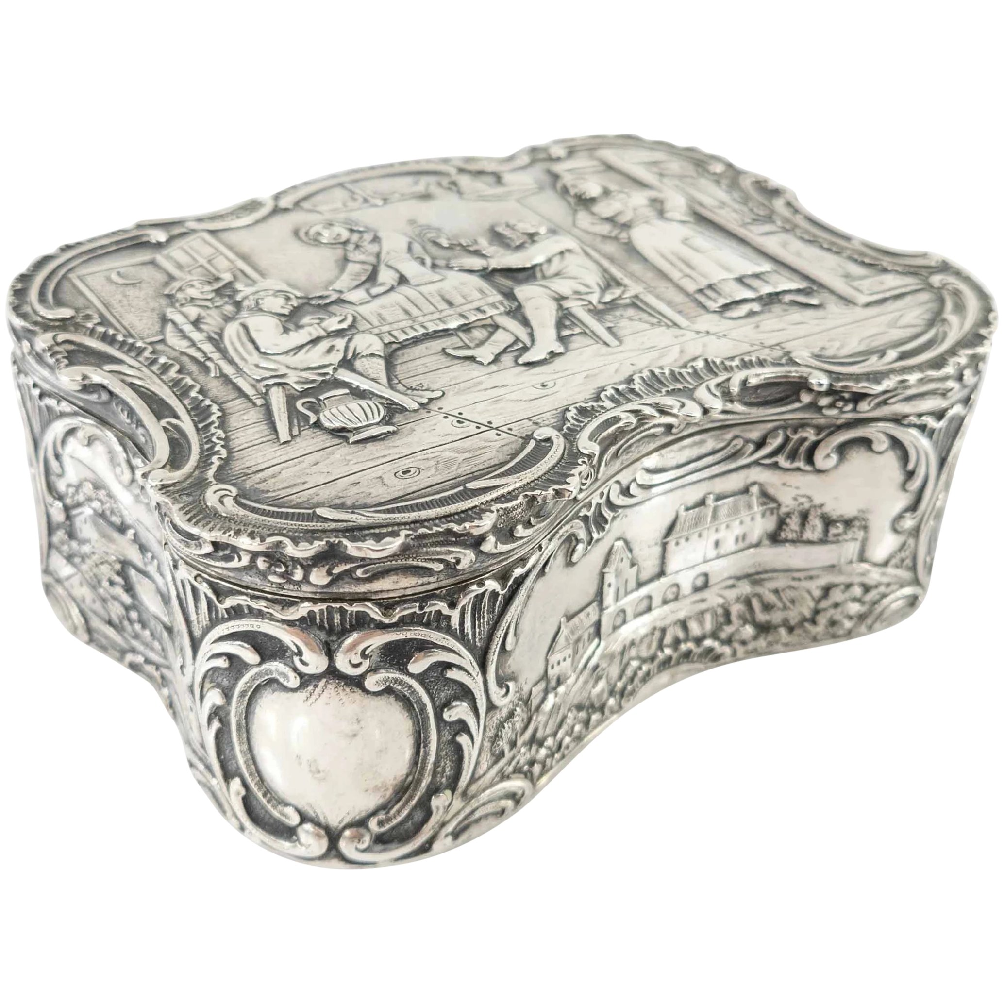 A Precious And Rare Highly Ornate Jewellery Box With Cherubs Containing A Silver Hummingbird Pendant Antique French Jewellery Box 1800/'s