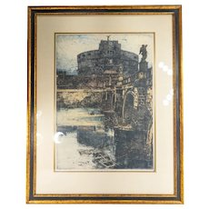 Colored Etching Print By Luigi Kasimir of Castel St. Angelo