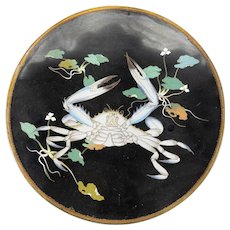 Japanese Art Deco Rare Cloisonne Charger with a Crab