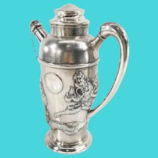 Vintage Chinese Export Silver Cocktail Shaker with Dragon