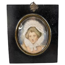 Miniature Watercolor Portrait Painting After Sir Joshua Reynolds