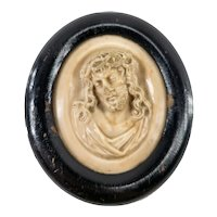 Antique Molded Stone Cameo Religious Icon of Christ