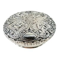 Antique Dutch or German Repousse Silver Lid Cover