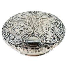 Antique Dutch or German Repousse Silver Lid Cover