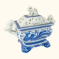 Japanese Blue and White Hirado Style Incense Burner Censer