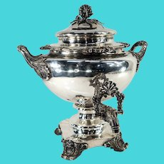 Massive Victorian English Sterling Silver Water Urn Richard Sibley for Makepeace