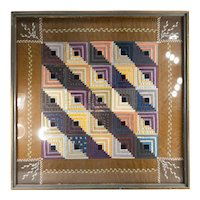 Antique Folk Art Americana Framed Crazy Quilt