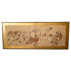 Antique Japanese Folding Wall Table Screen Scroll Painting