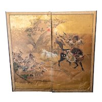 Antique Chinese or Japanese Painted Folding Screen with Warriors