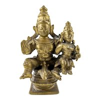 Indian Hindu Cast Bronze Figure Vishnu and Lakshmi