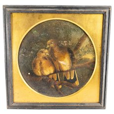 Antique Charming Antique Oil Painting on Canvas Two Turtle Doves