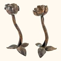 Arts and Crafts Hand Wrought Copper Brutalist Flower Candlesticks
