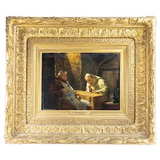 Antique Oil Painting on Panel Monks in a Wine Cellar