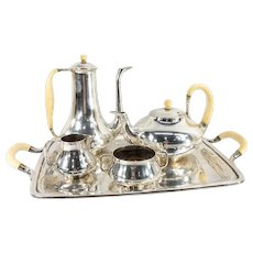 Vintage Mid Century Modernist Sterling Silver Tea and Coffee Set