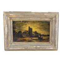 Antique Oil Painting on Panel Night Landscape Framed