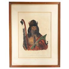 McKenney and Hall Colored Lithograph of Native American Indian
