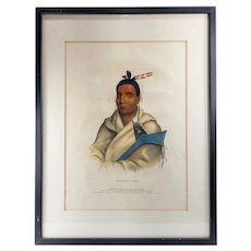 Hand Colored Lithograph Print of a Native American Warrior