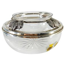 Italian Sterling Silver and Crystal Glass Cigar Ashtray