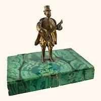 Antique Russian Miniature Bronze Musician on Malachite Base