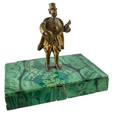 Antique Russian Miniature Bronze Musician on Malachite Base