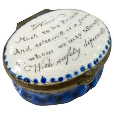 Antique English Battersea and Bilston Enamel Pill box