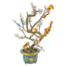 Vintage Chinese Jade Tree in Cloisonne Planter