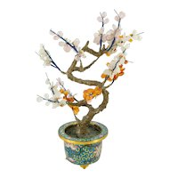 Vintage 20th Century Chinese Jade Tree with Cloisonne Planter
