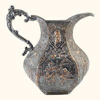 Antique English Victorian Silverplate Pitcher Shakespearean Scenes