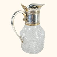 Decorative Silverplate and Pressed Glass Water Pitcher Tumbler