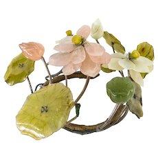 Vintage Chinese Carved Soapstone Jade Lotus Tree