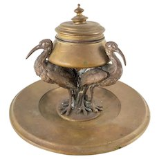 Antique Aesthetic Bronze Inkwell with Cranes