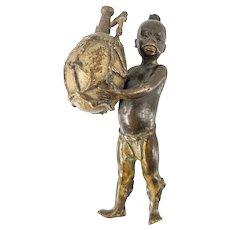 Austrian Bergmann Style Gilt Bronze African Boy Figure