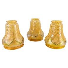 Set of 3 Iridescent Aurene Tiffany Style Glass Lamp Shades