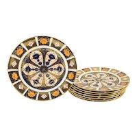 Set of 8 English Royal Crown Derby Imari Pattern Luncheon Plates