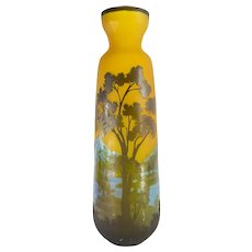 Vintage Late 20th Century Galle Style Art Glass Vase