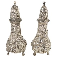 Sterling Silver Stieff Repousse Floral Salt and Pepper Shaker