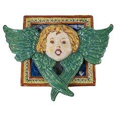 Italian Deruta Majolica Faience Cherub Fountain Tile