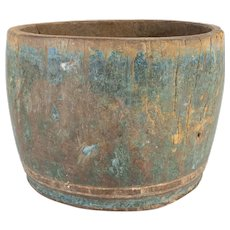 Hand Carved Primitive Wooden Turquoise Vessel