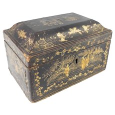 Chinese Export Black Lacquer Tea Caddy Box