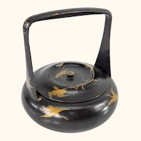 Japanese Meiji Lacquered Box with Cranes