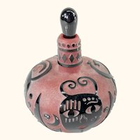 Carved Cameo Glass Perfume Scent Bottle by Raabe and Fellerman