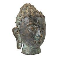 Mid Century Bronze Model of Buddha's Head