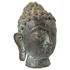 Mid Century Bronze Model of Buddha's Head