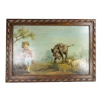 French Oil on Board Genre Painting in Carved Wood Frame