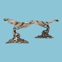 Antique Sterling Silver Hallmarked Martin M Fleisher Dolphin Salts