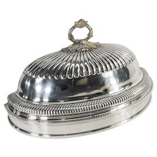 English Sheffield Silver Plate Half Meat Dome