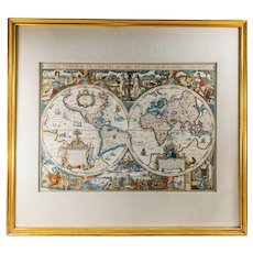 Vintage Decorative Framed and Colored World Map